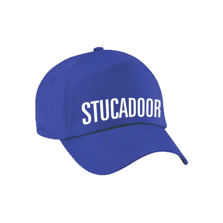 Stucadoor verkleed pet blauw volwassenen
