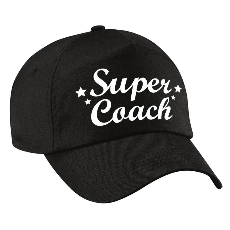 Super coach cadeau pet /cap zwart voor volwassenen