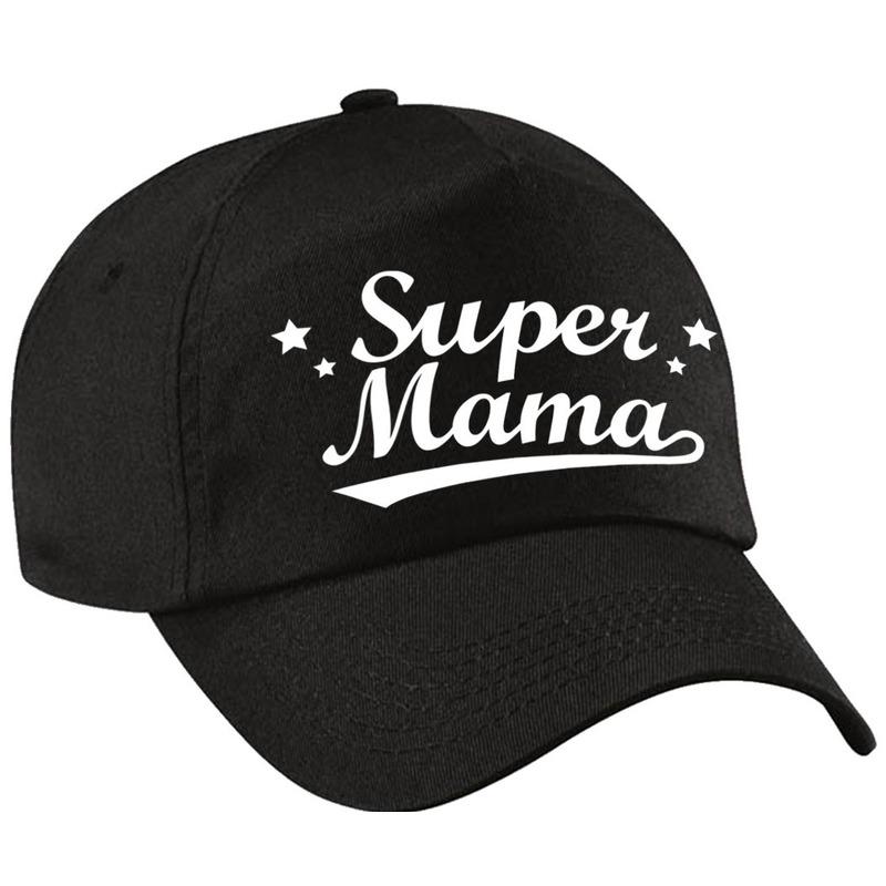 Super mama moederdag cadeau pet /cap zwart voor dames