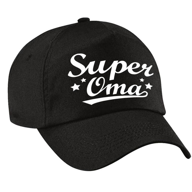Super oma cadeau pet /cap zwart voor volwassenen