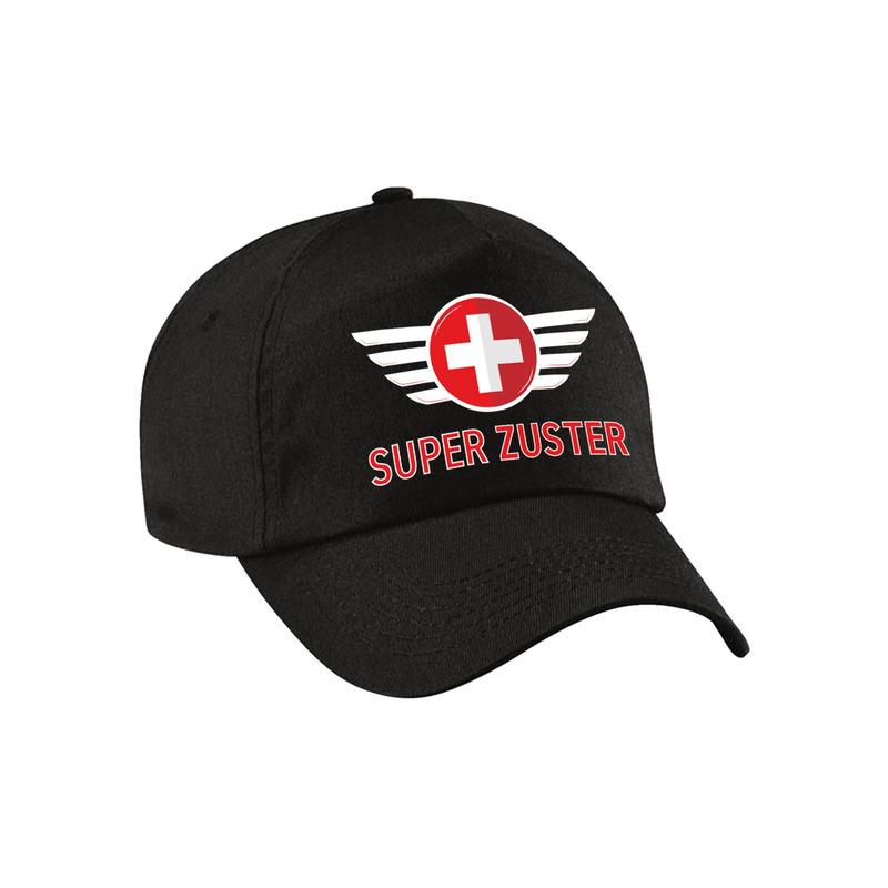 Super zuster cadeau pet zwart voor dames