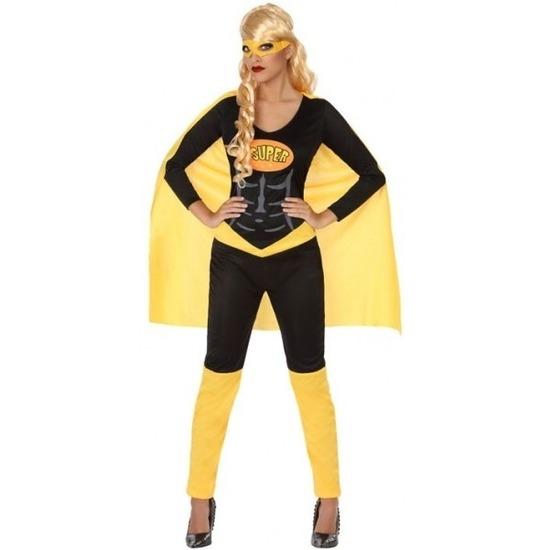 Superheld verkleed pak/kostuum zwart/geel voor dames