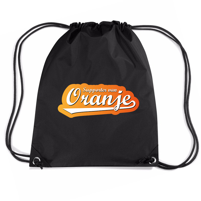 Supporter van oranje voetbal rugzakje - sporttas met rijgkoord zwart