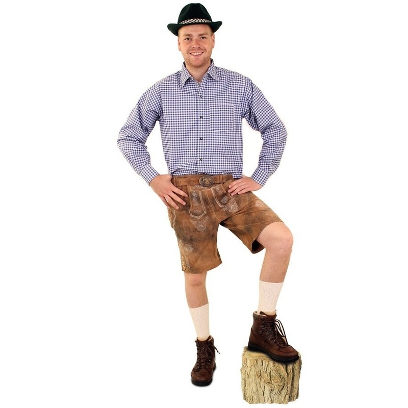 Tiroler blouse blauw/wit geblokt voor heren