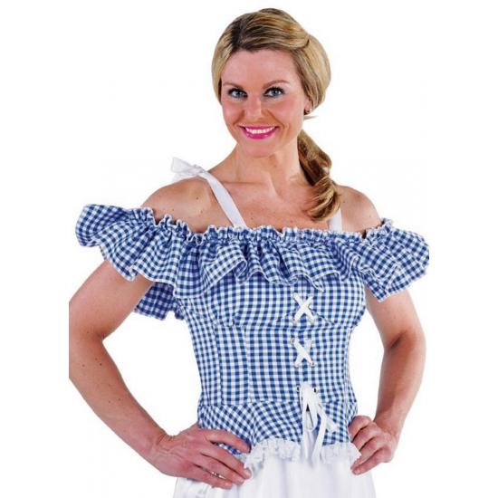 Tiroler blouse Carmen blauw geruit