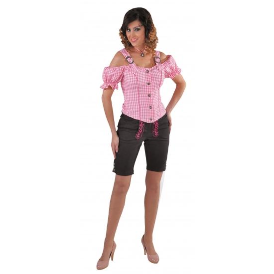 Tiroler blouse off shoulder roze geruit