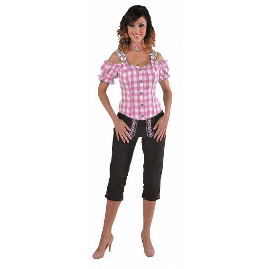 Tiroler blouse off shoulder roze grote ruit