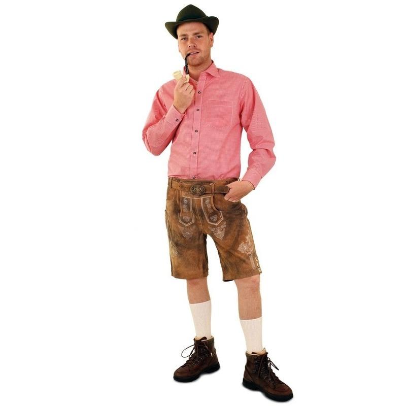 Tiroler blouse rood/wit geblokt voor heren