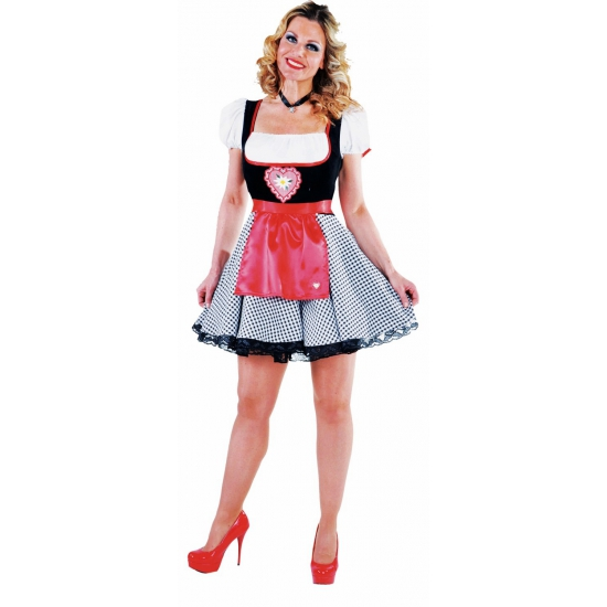 Tiroler dames jurkje zwart met rood