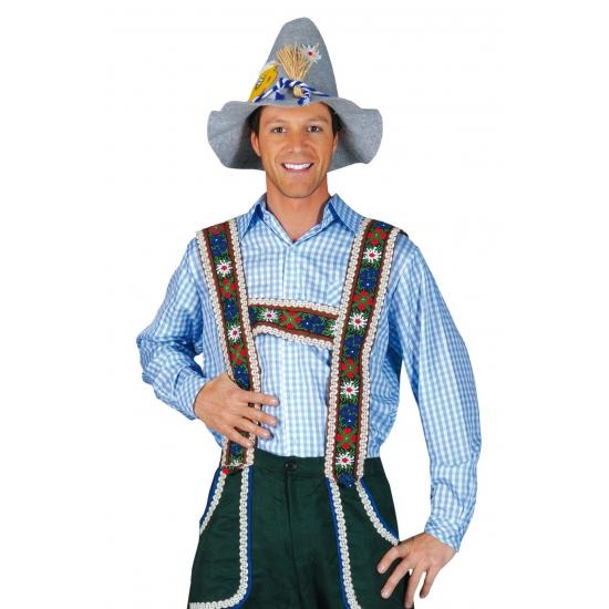 Tiroler kleding blauw overhemd voor heren