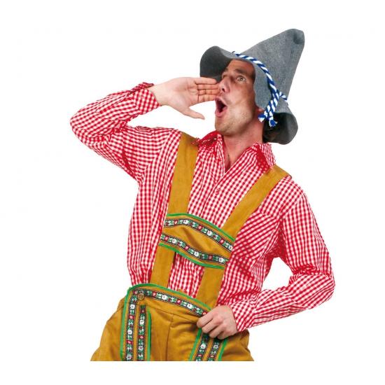Tiroler kleding rood overhemd voor heren