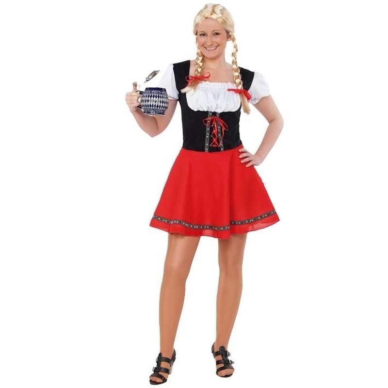 Tiroolse verkleedjurk voor dames rood met zwart
