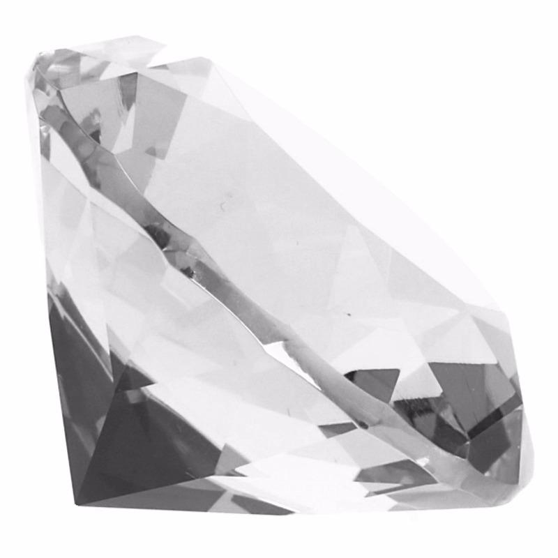 Transparante nep diamant 5 cm van glas
