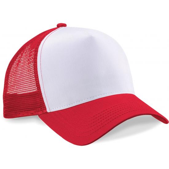 Truckers baseball cap rood/wit voor volwassenen