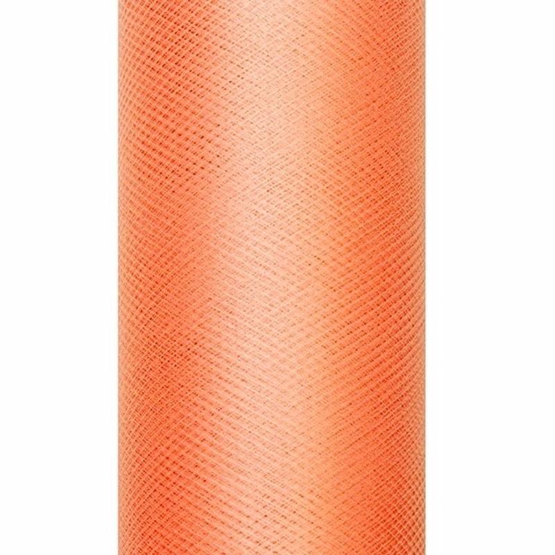 Tule stof oranje 15 cm breed