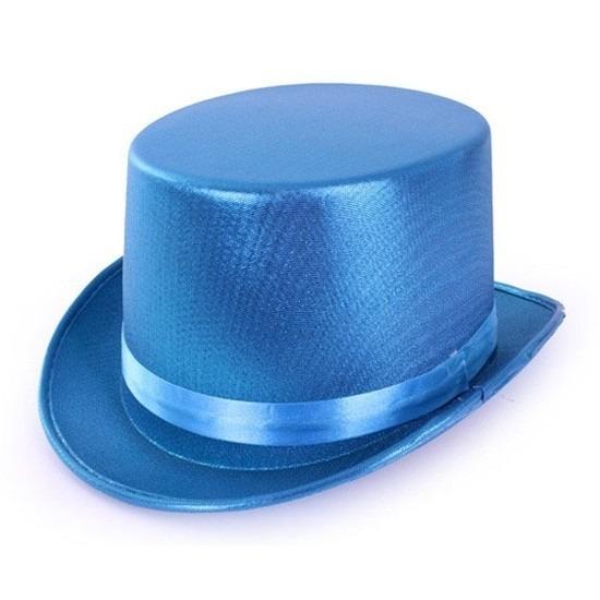 Turquoise blauwe hoge hoed metallic voor volwassenen
