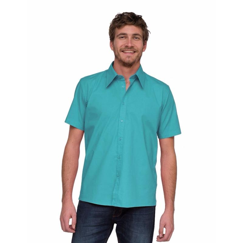 Turquoise blouse met korte mouwen Lemon&Soda