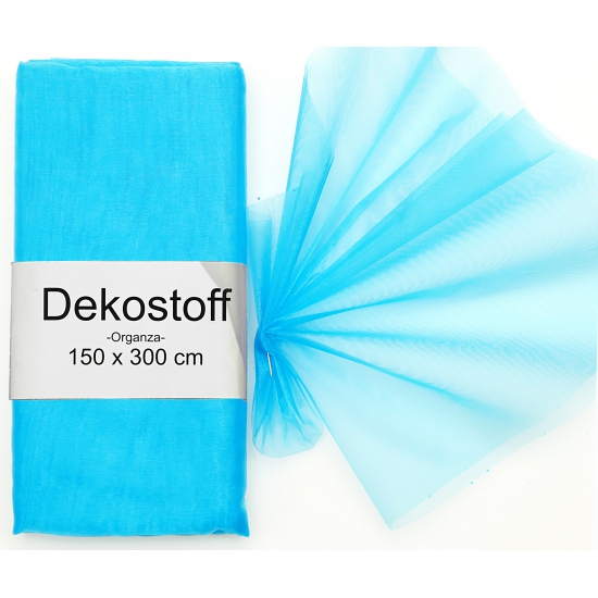 Turquoise organza strook 150 x 300 cm