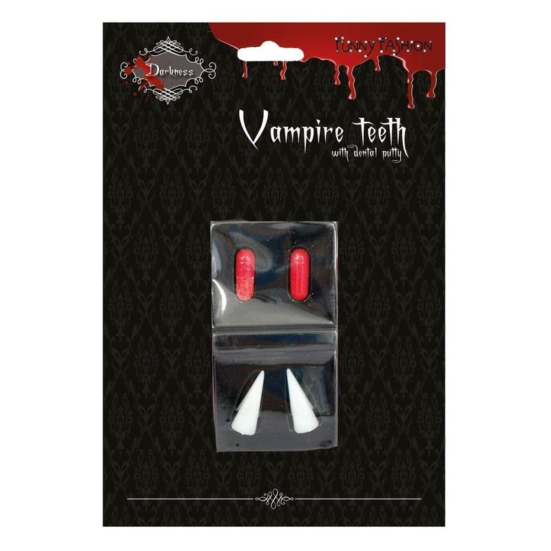 Vampiertanden halloween met bloedcapsules