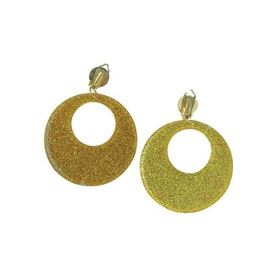Verkleed 60s disco oorbellen goud glitter