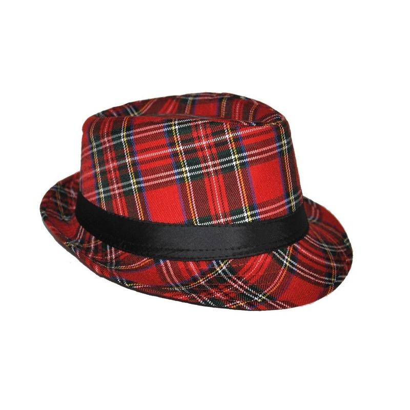 Verkleed Al Capone hoed Schotse ruit rood