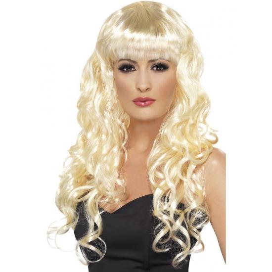 Verkleed Blonde damespruik met krullen