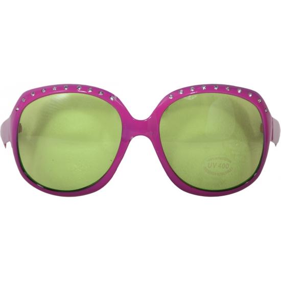Verkleed brillen roze met steentjes