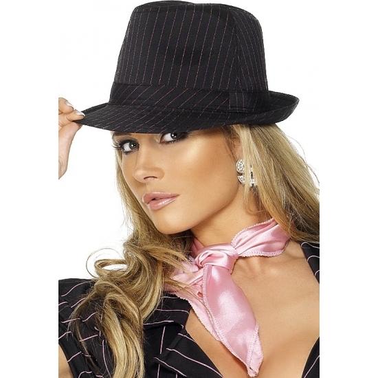 Verkleed Gangster hoed zwart met roze