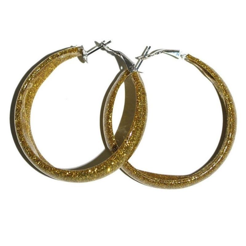 Verkleed Gouden glitter oorbellen