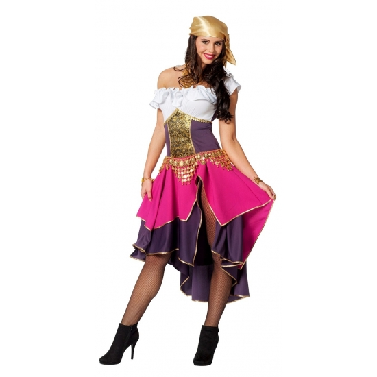 Verkleed gypsy outfit dames roze/paars