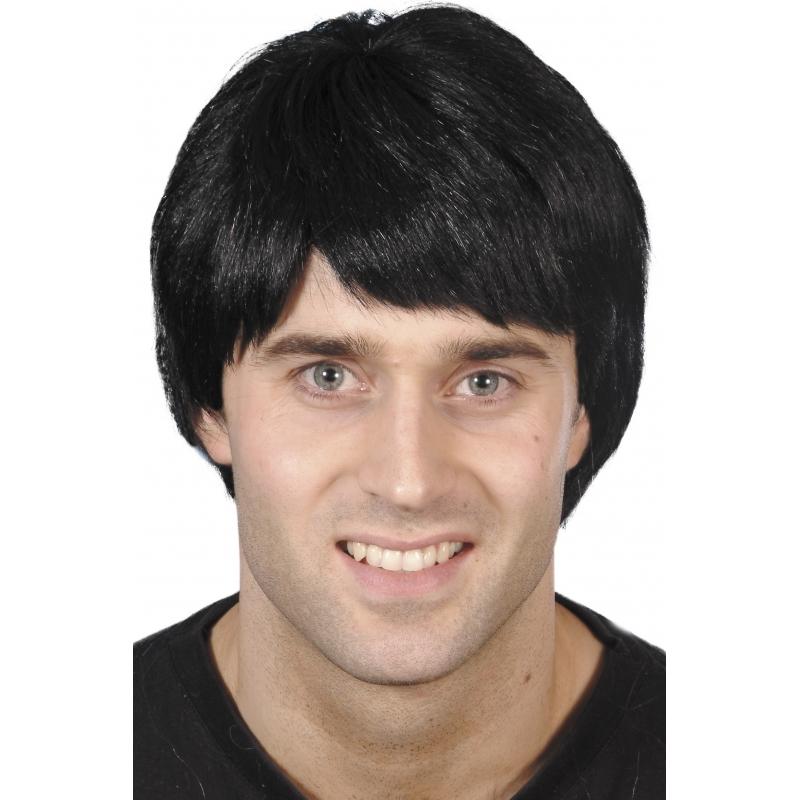 Verkleed Herenpruik zwart kort haar