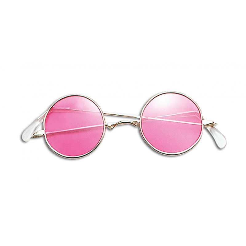 Merkloos Verkleed Hippiebril roze