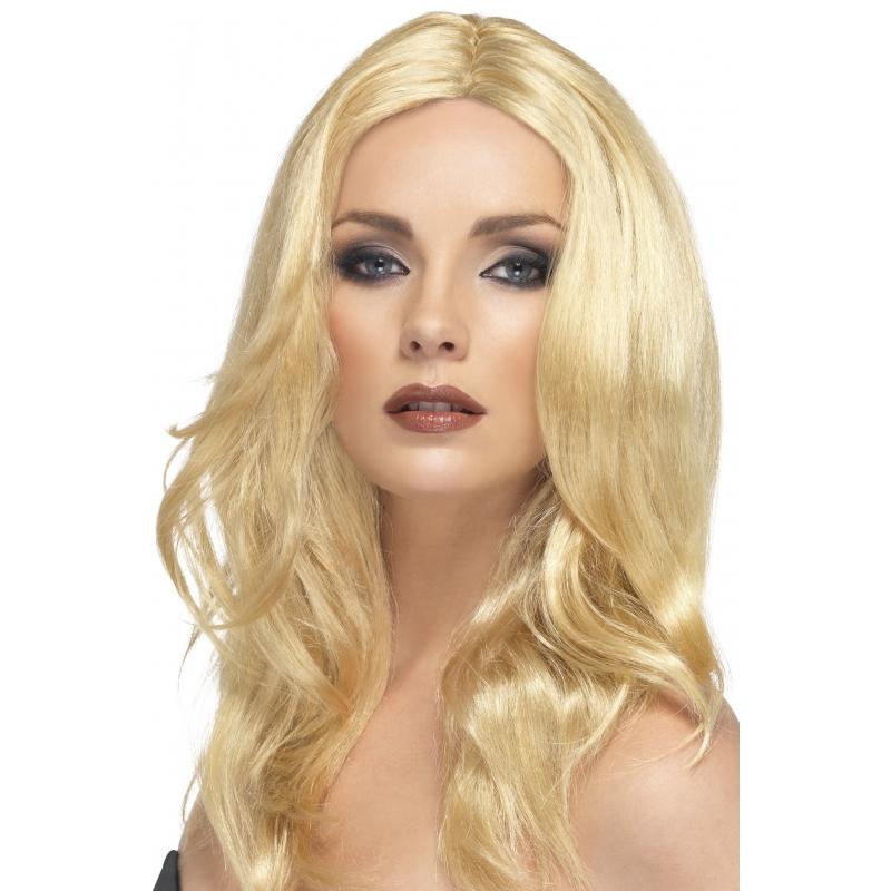 Verkleed Lange blonde damespruik Superstar
