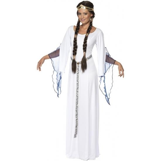 Verkleed middeleeuws dames kostuum wit