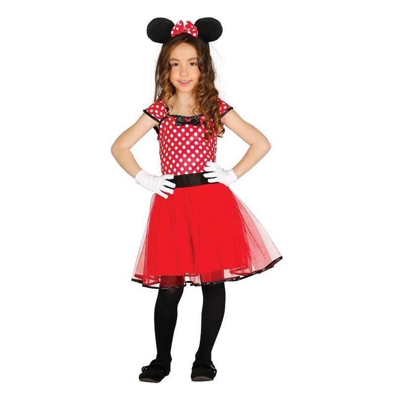 Merkloos Verkleed muizen jurkje rood met stippen voor meisjes