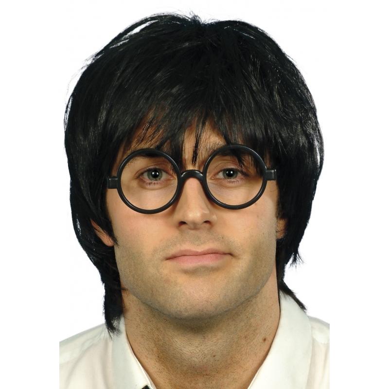 Verkleed Nerd pruik met bril