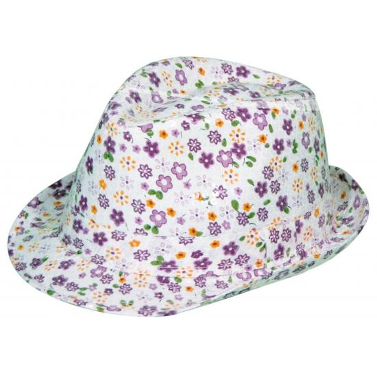 Verkleed Paarse Tribly hoed met bloemen