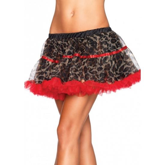 Verkleed petticoat luxe rood met luipaard print