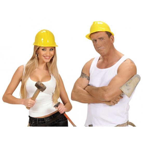 Merkloos Verkleed PVC bouwhelm geel
