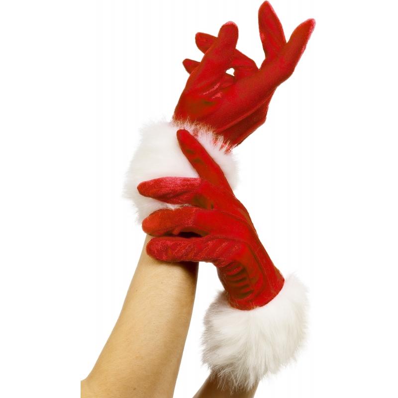 Verkleed Rode bont handschoenen