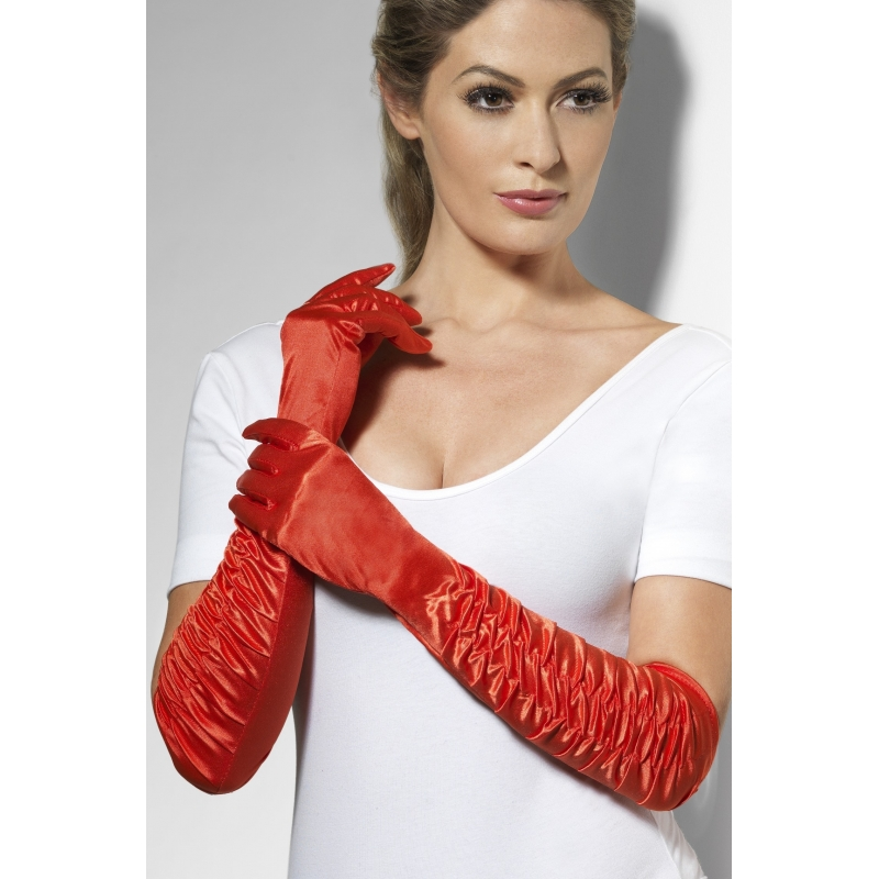 Verkleed Rode handschoenen 46 cm