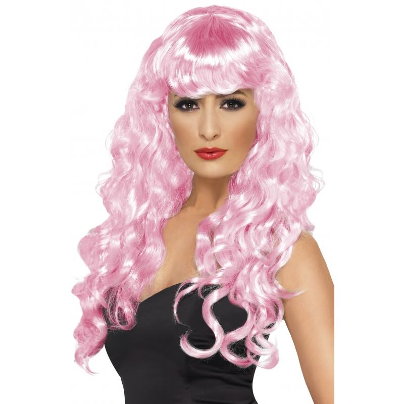Verkleed Roze dames krullen pruik