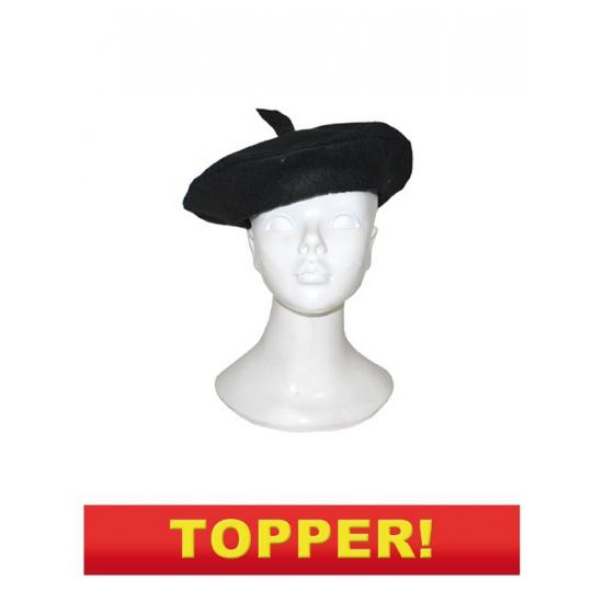 Merkloos Verkleed Voordelige Franse baret zwart