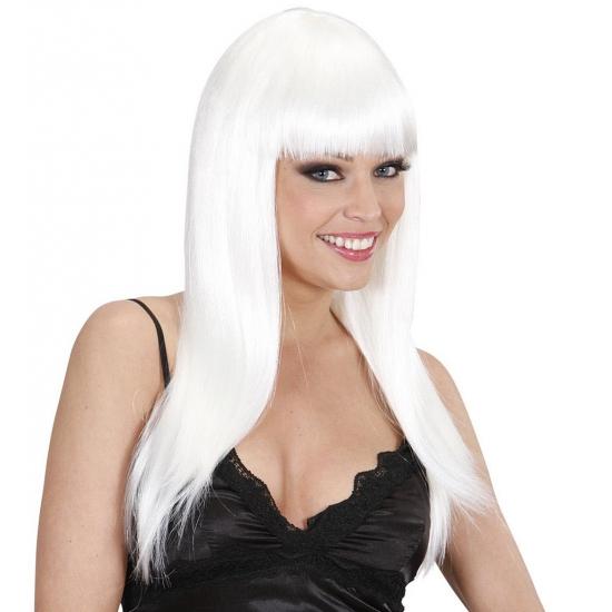 Verkleed witte pruik dames lang haar