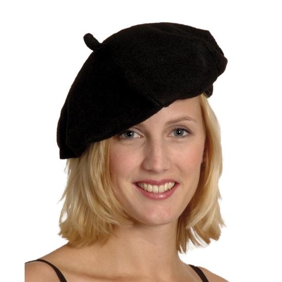 Merkloos Verkleed Zwarte franse baret