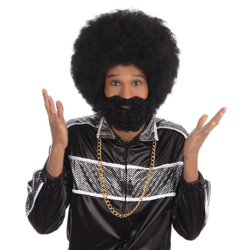 Verkleed Zwarte ronde afro pruik met baard