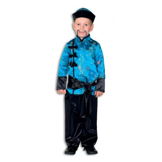 Merkloos Verkleedkleding Aziatisch jongens kostuum blauw