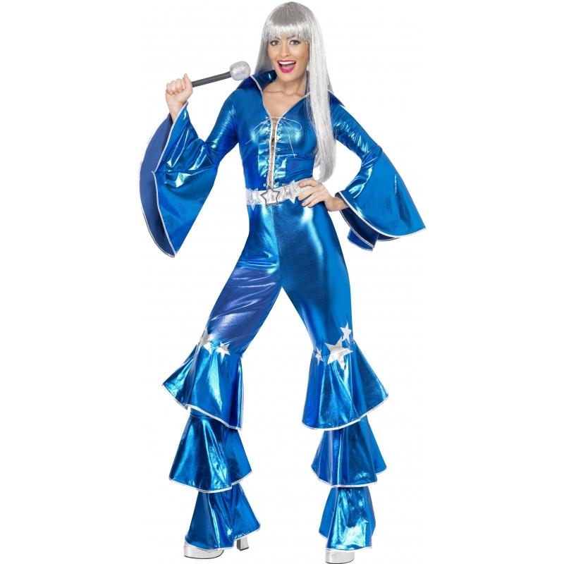 Verkleedkleding Blauw dancing queen kostuum 70s