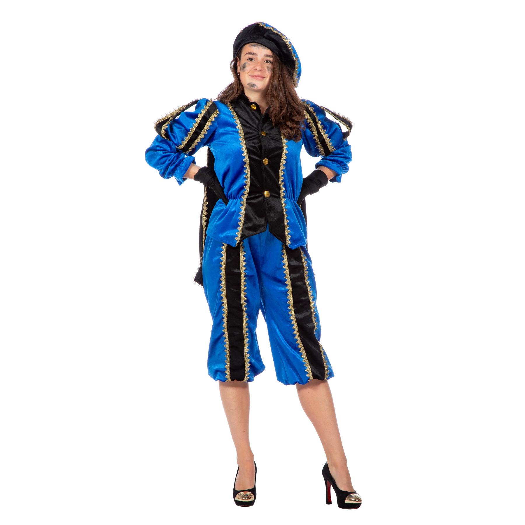 Verkleedkleding Blauw/zwarte pieten kostuum fluweel