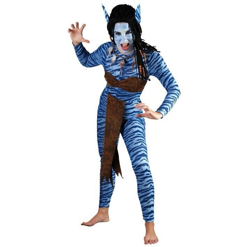 Verkleedkleding Blauwe jungle strijdster kostuum voor dames